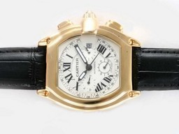 Cas faux cool Cartier Roadster Chronograph Automatic or avec cadran blanc AAA Montres [ V7L7 ]