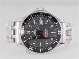 Faux magnifique Omega Seamaster Professional GMT avec Black Wavy Dial-même Structure Comme AAA Montres [ B1N5 ]