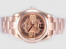 Faux Grande Rolex Air-King Oyster Perpetual Automatique Complet En Or Rose AAA Montres [ F9I3 ]